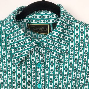 Vintage Green Chain Link Pattern Top